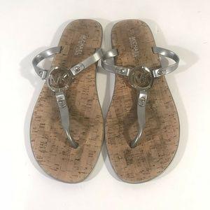 Michael Kors Women's Sandals 10 Logo Cork Silver